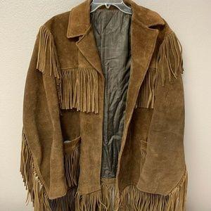Vintage Mens Fringe Jacket Suede Leather Western